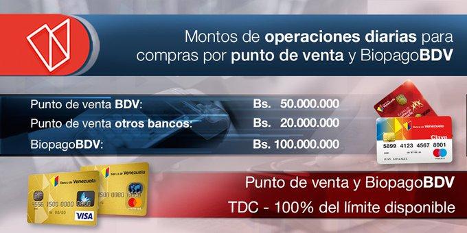 Banco de Venezuela aumenta límites para compras y consumos